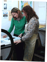 Lisa D'Onofrio and Annette Rolston printing